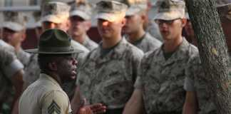 Marine Corps rank structure - a Sergeant Drill Instructor instructs his recruits.