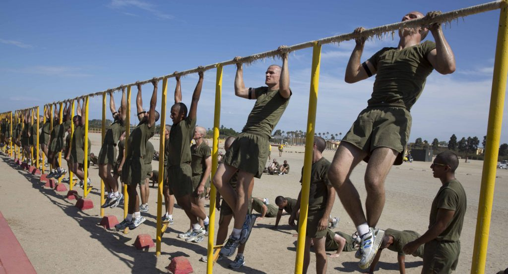 Recruits conduct a Marine Corps Physical Fitness Test