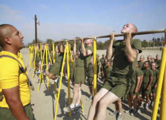 Recruits from Fox Company, 2nd Recruit Training Battalion, conduct pull-ups during an inventory physical fitness test at Marine Corps Recruit Depot San Diego.