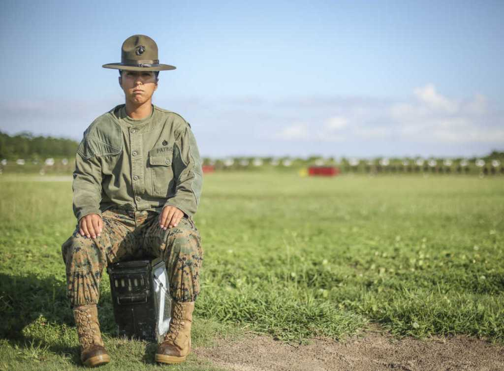 U.S. Marine Corps Staff Sgt. Estefania Patino, a Primary Marksmanship Instructor at Marine Corps Recruit Depot Parris Island