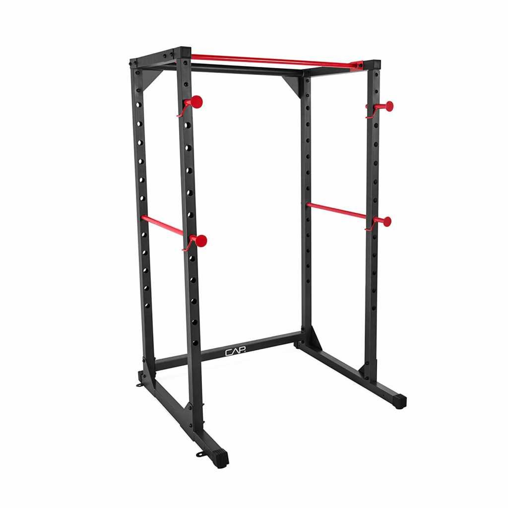 The CAP Barbell Full Cage Power Rack features a pull up bar, weight racks, and drop support.