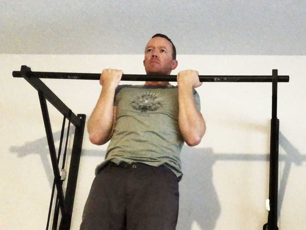 The chin up is done with arms shoulder width, palms facing toward you.