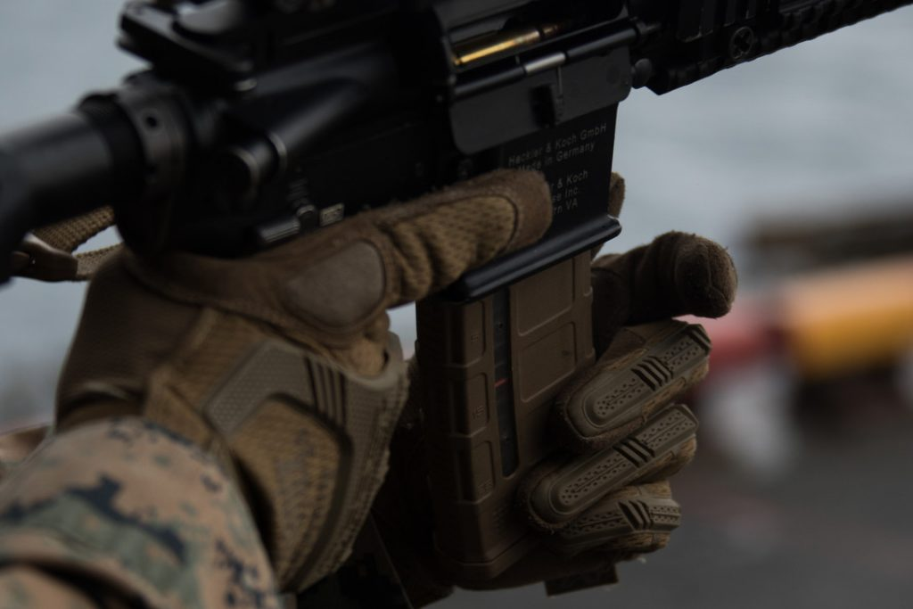 Marine Corps 4 weapons safety rules. Rule #3 keep your finger straight and off the trigger until you're ready to fire.